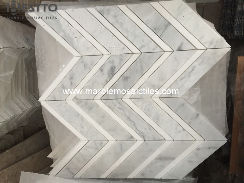 Carrara and Thassos Chevron Mosaic