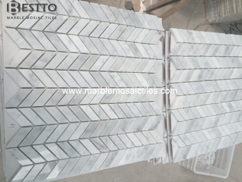 Carrara Fishbone Mosaic Tile
