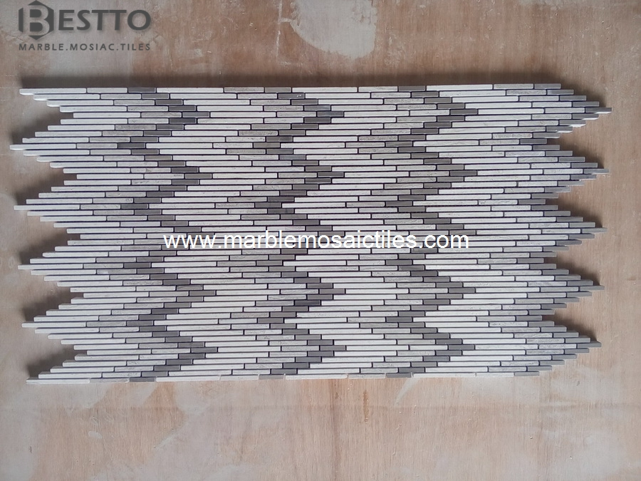 Wooden Marble Strips Mosaic