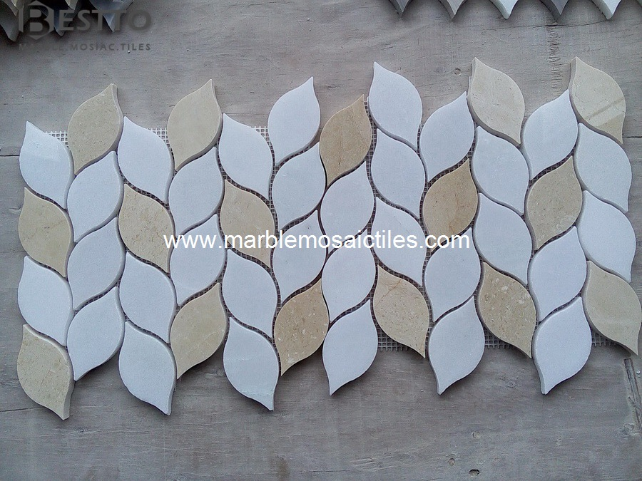 Cream marfil Leaves Mosaic Tiles