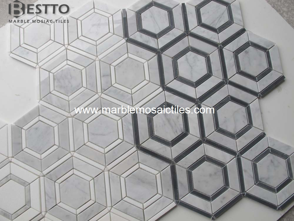 Carrara and Thassos Hexagonal Mosaic
