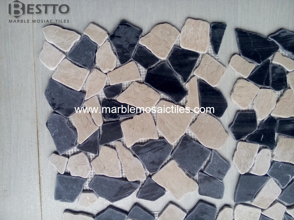 Black Marquina Crazy Mix Mosaic Tile