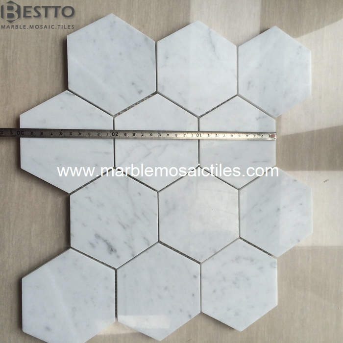 White Carrara Hexagon Mosaic