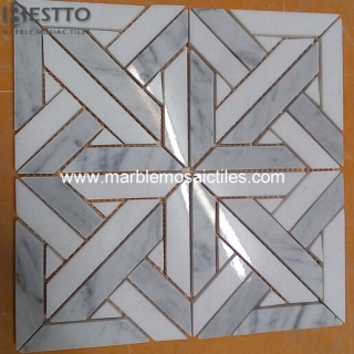 Carrara White and Thassos Mosaic Tiles