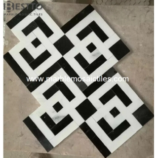 Thassos White and Black Marquina mosaic