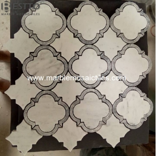 Carrara White Waterjet Mosaic