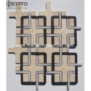 Marble  and travertine waterjet mosaic Suppliers