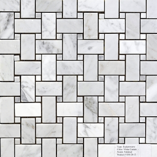 White Carrara Basketweave Mosaic Manufacturers