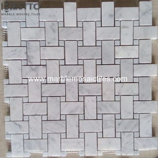 Basketweave mosaic Carrara White Manufacturers