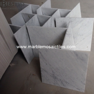 Top Quality Carrara White Polished Tiles 12''x12''