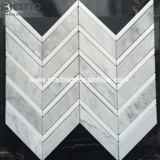 Carrara and Thassos Chevron Mosaic Suppliers
