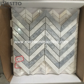 White Carrara Chevron Mosaic Manufacturers