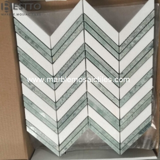 Thassos and Ming Green Chevron Mosaic Suppliers
