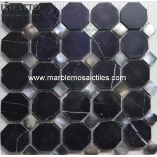 Nero Marquina octangle mosaic Manufacturers