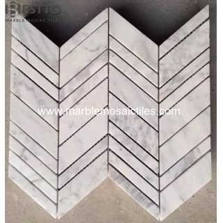 Bianco Carrara Chevron Mosaic Suppliers