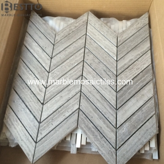 Grey Wood Chevron Mosaic Suppliers