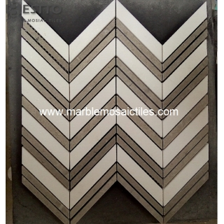 Thassos and Cindy Grey Chevron Mosaic Suppliers