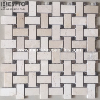 Crema Marfil Basketweave mosaic Suppliers