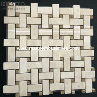 Crema Marfil Basketweave mosaic Tile Suppliers