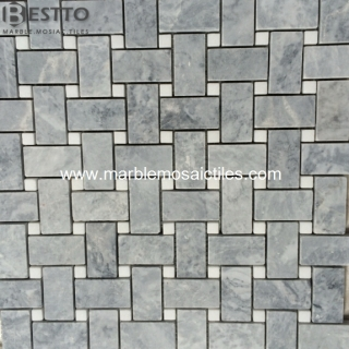 Grey Marble Basketweave mosaic