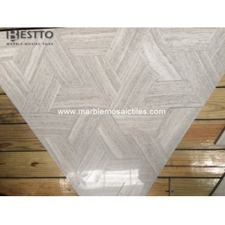 Trapeziod White Wood Marble Tile Suppliers