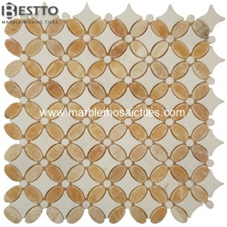 Yellow Onyx Flower Mosaic Tile Manufacturers