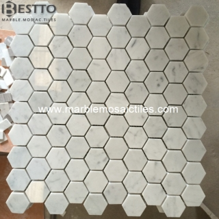 Carrara Hexagon Mosaic Honed