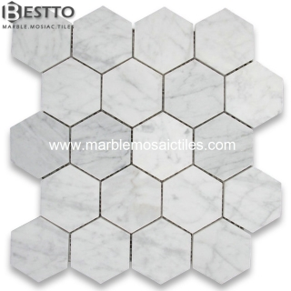Carrara Hexagon Mosaic 3'' Online