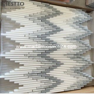 Greece Thassos White Strips Mosaic Suppliers