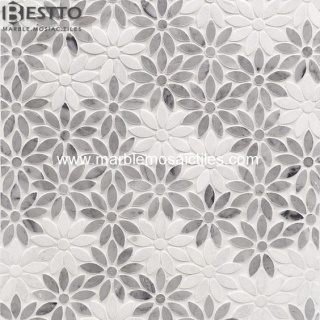 Top Quality Carrara white Flower Mosaics