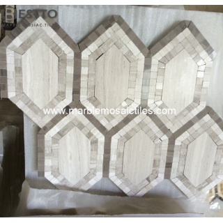 Wooden marble Hexagon Mosaic Suppliers