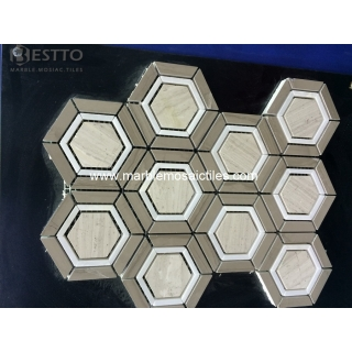 Top Quality Wooden vein marble Hexagonal Mosaic