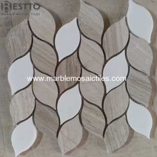White Wood Mosaic Tiles Suppliers