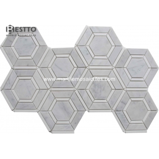 Top Quality Carrara and Thassos Hexagonal Mosaic
