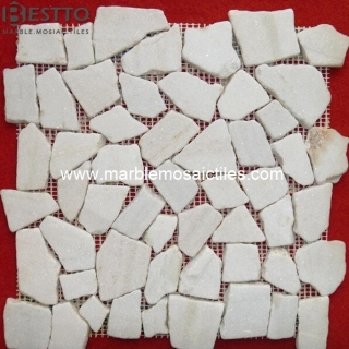 White Quartzite Crazy Mix Mosaic