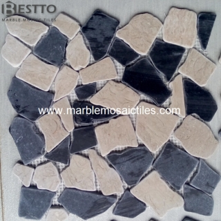 Black Marquina Crazy Mix Mosaic Tile Manufacturers