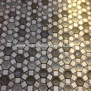 Wooden Vein marble Blend Porcelain Mosaic Manufacturers
