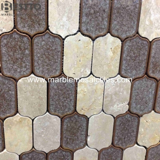 Travertine mixed Porcelain Mosaic
