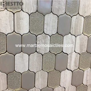 Wood vein Marble Blend Porcelain Mosaic Tiles Manufacturers
