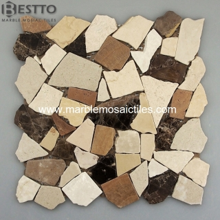 Marble Crazy mix tumbled mosaic tile Suppliers