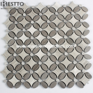 Wooden Vein Marble Flower Mosaic Tile Manufacturers