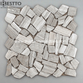 White wood Crazy mix tumbled mosaic tile Manufacturers