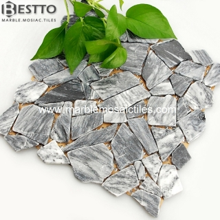 Grey vein Marble tumbled mosaic tile