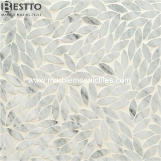 White Carrara Marble flower Mosaic Tiles Suppliers