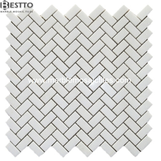 White Thassos Herringbone  Mosaic Suppliers