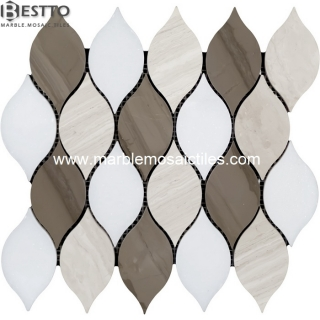 Top Quality Marble Blend Leaves Mosaic Tiles