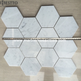 White Carrara Hexagon Mosaic 4'' Online