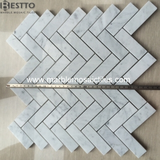 White Carrara Herringbone Mosaic Tiles