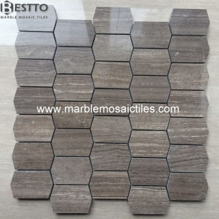 Hexagonal Coffee Wood Mosaic Tiles