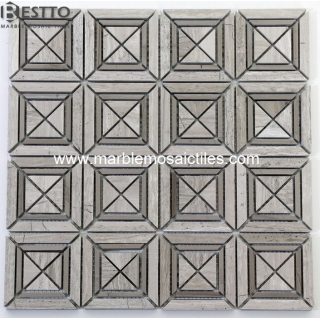 Wooden Vein Marble Mosaic Tiles Suppliers